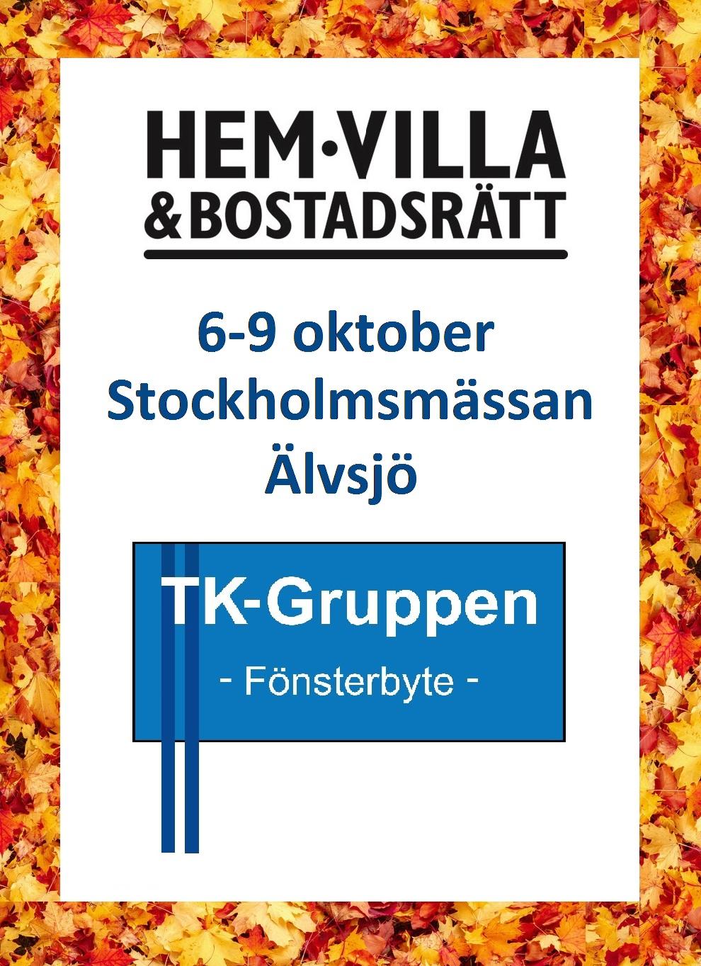 Besök oss på Hem & Villa i Stockholm, 6-9 oktober! PVC-fönster Stockholm