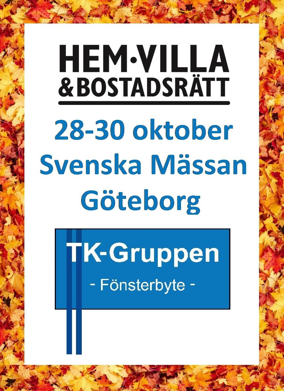 Besök oss på Hem & Villa i Göteborg 28-30 oktober! PVC-fönster Göteborg